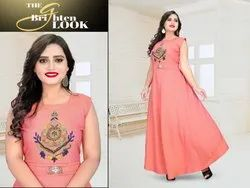 Rayon Party Wear Gown