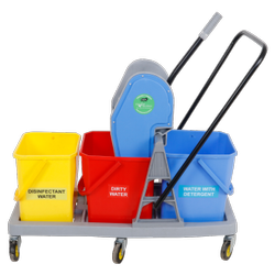 Three In One Mop Wringer Trolley, GR-809, Usage: Hospitals