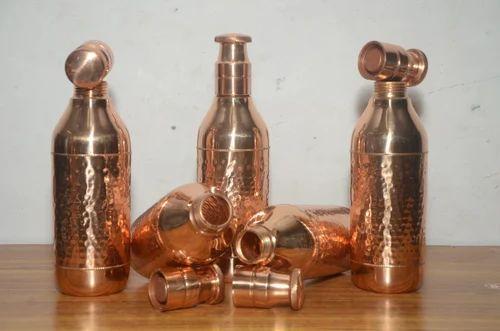 Swastic Copper Hammered Champagne Bottle