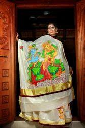 Golden Silk Mural Designer Saree, With Blouse Piece