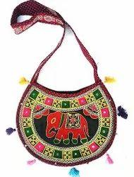 Cotton Multicolor Sindhi Embroidery Pitcher Design Shoulder Bag, Size: 15 X 10 X 2