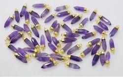 Amethyst Gold Cap Spikes Pendant