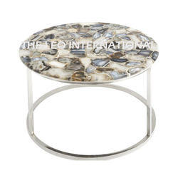 Acrylic Agate Top Metal Steel Coffee Table
