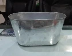 Oval Planter Natural Galvanized Finish