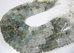 Natural Moss Aquamarine Rondelle Faceted Shaded 8-9mm Strand 8 inches long