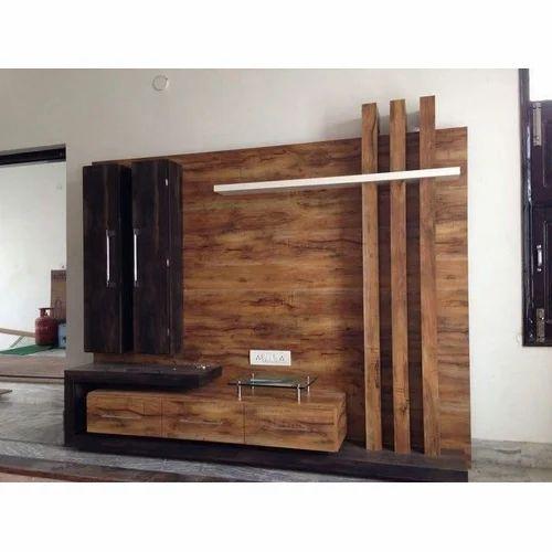 Wooden Brown Modular Tv Stand Set