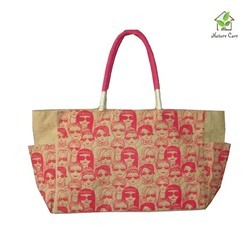 Jute Shopping Bag With Faces Print All Over The Bag