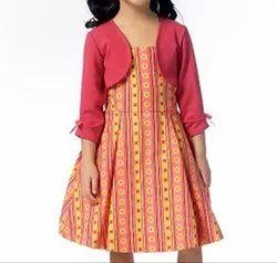 Full Plain Girls Kids Red Cotton Shrugs