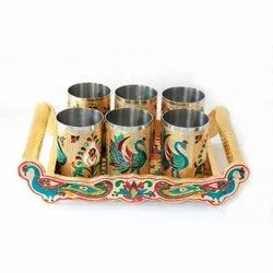 Multicolor Stainless Steel Meenakari 6 Glass Tray Set, For Gifting