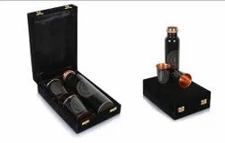 Black Digital Print Leak Proof Copper Bottle Set