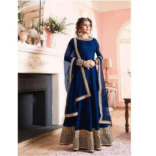 f6db878568 Australian Silk Embroidery Navy Blue Anarkali Suits, Rs 1125 /piece ...