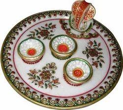 Marble Round Pooja Thali