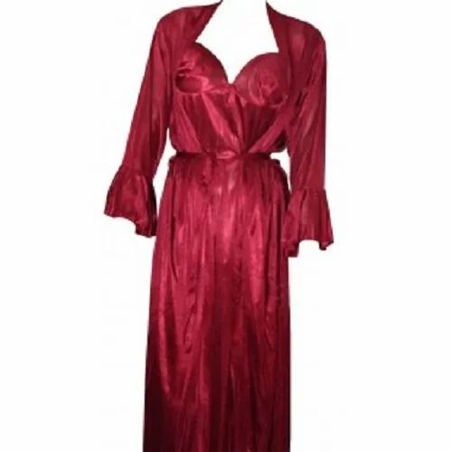 Red Full Length Ladies Fancy Nightwear Nightgown