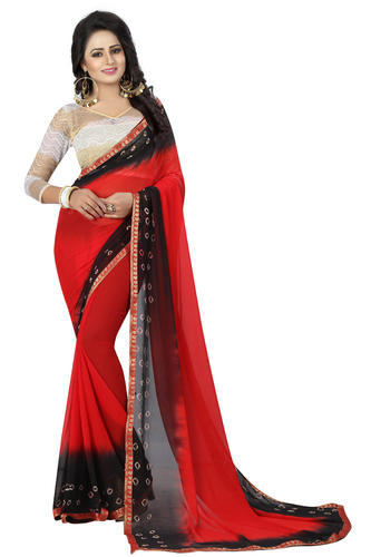 0186803a5c Red And Black Black Red Bandhani Saree, With Blouse Piece, Rs 450 ...