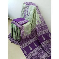 Casual Wear Handloom Printed Cotton Saree, 6.3 m (With Blouse Piece)