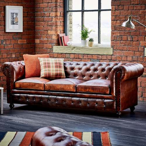Leather Chesterfield 3 Seater Sofa