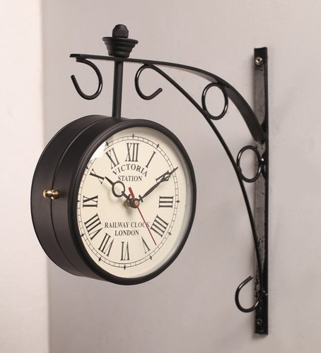 double sided railway station platform antique wall clock
