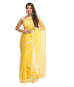 Georgette Yellow A129556 Embroidered Lucknow Chikankari Ethnic Wear Saree, 5.50