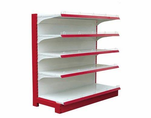 White,Red SS Supermarket Display Rack, 4 Shelves