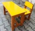 Wooden Desk With 2 Chairs In Yellow