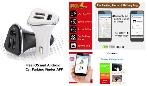 Black White Car Parking Finder Mobile Charger Car Battery