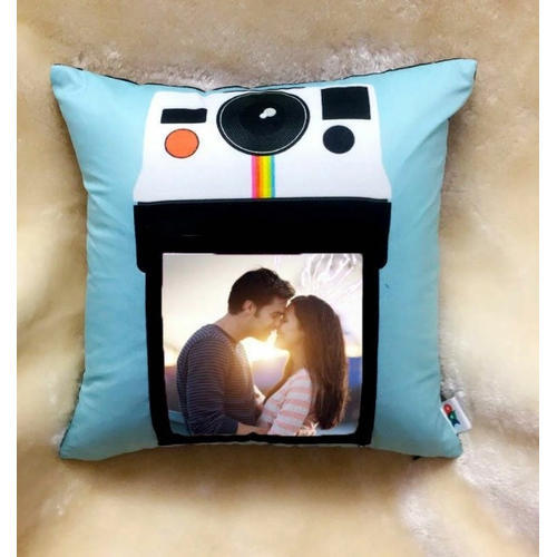 100% Polyester Printed Designer Photo Cushion, Size: 12X12 Inch