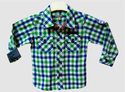 Green And Blue Boys Check Shirt