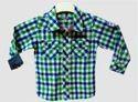 Boy Green And Blue Check Shirt