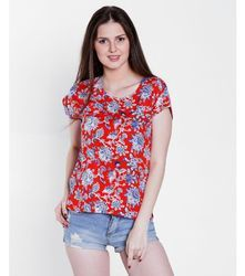 Ladies Red Half Sleeves Floral Printed Top