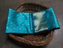 6.5 meter Blue Chanderi Saree, With Blouse Piece