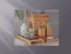 Round Golden Bamboo Bathroom Set, For Home, Size: Adjustable