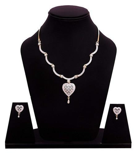 9dc089d5373 Ankur Stylish Gold Plated And Rhodium Cz Diamond Necklace Set For Women
