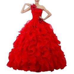 Organza Net Red Ladies Bridal Long Gown