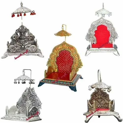 Puja Singhasan White Metal Religious Product Handicraft Wedding Favor