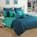 Swayam Printed Cotton Double Comforter - Turquoise