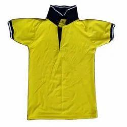 Polyester Plain Mens Yellow Neon Collar T Shirt