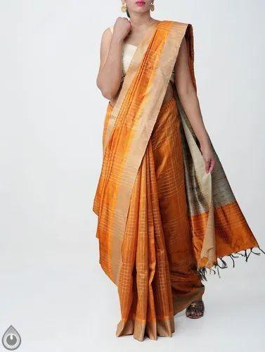 82ddc88fb2 Pure Handloom Weaving Work Muga Tussar Silk Checks Saree With Tassels