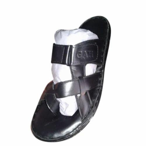 8e5dda34c Mens Leather And PU Black Slipper