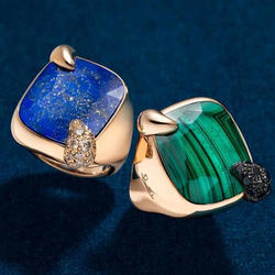 New Elegant Royal Look Awesome Pretty Finished Lapis And Malachite Ring