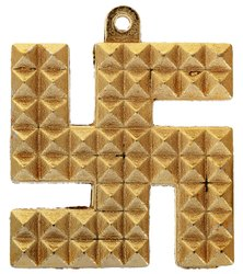Kesar Zems Brass Swastik Pyramid Wall Hanging (5.5 cm x 5 cm x 0.5 cm, Gold)