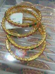 Round Alloy Steel Polki Designer Gold Plated Bangle