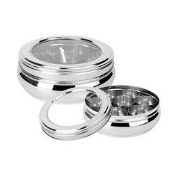 Glass Lid Stainless Steel Spice Box