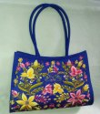 Blue Silk Cloth Bag Embroidered Shoulder Bags