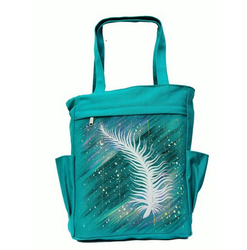 Painted Feather - Canvas Tote Hand Painted Woman Handbag 041291e956fb4