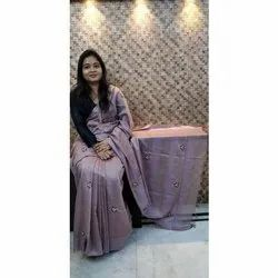 6.3 Meter Casual Hand Embroidery Bhagalpuri Silk Saree, With Blouse Piece