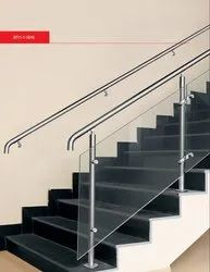 Top Mounted Round Baluster System With Double Glass Bracket