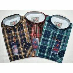 Collar Neck Mens Check Cotton Shirt