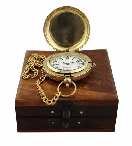 Golden Brass Marine Vintage Pocket Clock with Nautical Wooden Box