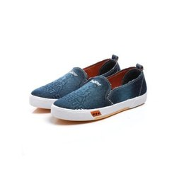 Mens Blue Grey Denim Canvas Shoes