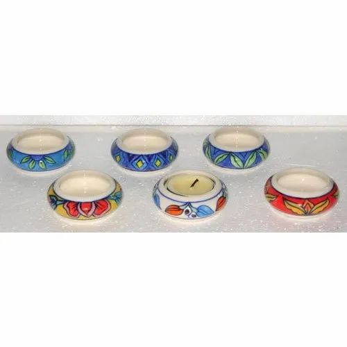 Round Printed Ceramic Candle Holder, For Decoration, Size: 3x3 Inch